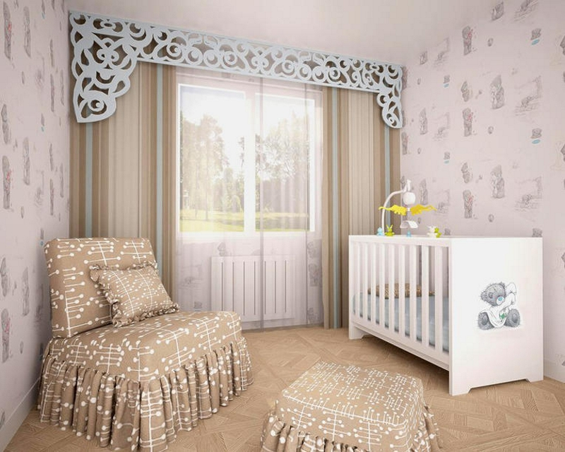 Ажурный ламбрекен в комнате для новорождённого