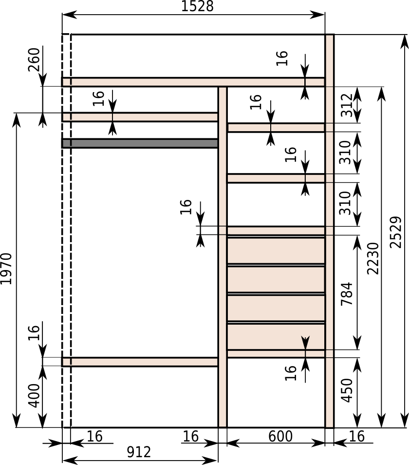 Встроенные шкафы купе схема фото 804