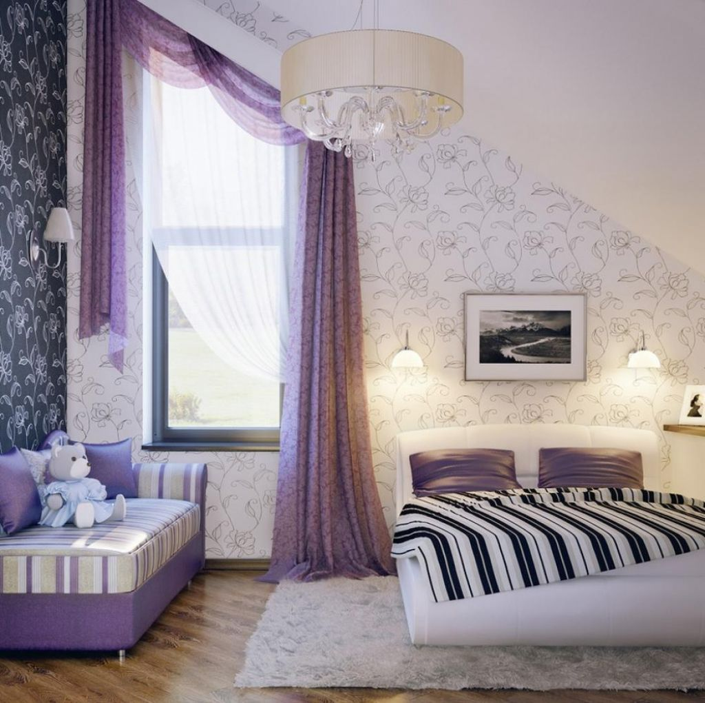 purple-sheer-curtain-for-girls-bedroom